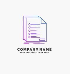 Check filing list listing registration purple vector