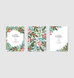 Christmas cards set holiday party card vector