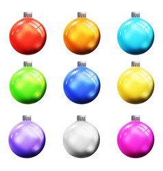 christmas tree new year ball 3d realistic colorful vector image