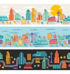 Cityscape seamless horizontal banners with vector image