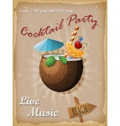 Cocktail party vintage poster coconut vector