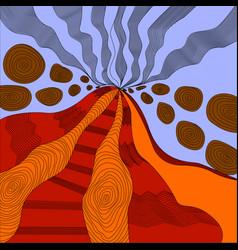 Colored art zen an active volcano lava erupts and vector