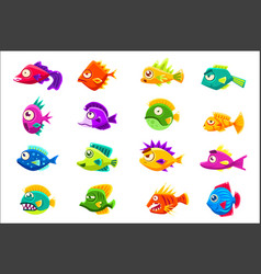 colorful tropical fish set vector image