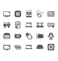 computer components icons set of motherboard cpu vector image