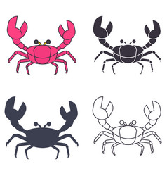 crabs icons set vector image