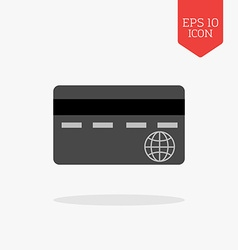 Credit card icon Flat design gray color symbol vector image