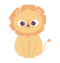 cute little lion animal cartoon isolated design vector image