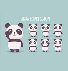 Cute panda expression collection vector