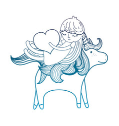 Degraded outline girl with heart riding cute vector