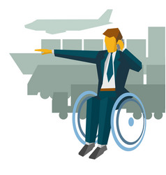 Disabled businessman in wheelchair show the way vector