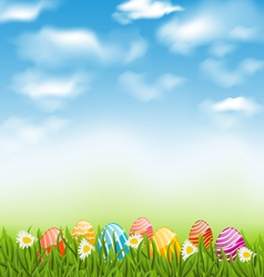 Easter natural landscape with traditional painted vector image