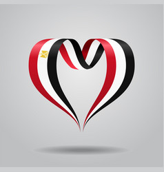 Egyptian flag heart-shaped ribbon vector