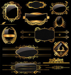 Elegant gold and black labels vector image vector image