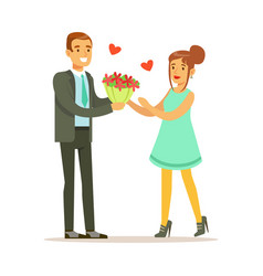 elegant man giving a bouquet of flowers to happy vector image