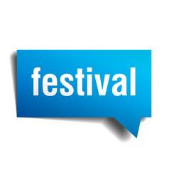 festival blue 3d speech bubble vector image