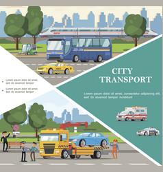 flat city transport template vector image
