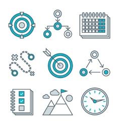 Flat line icons set competitive advantage vector