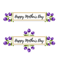 floral design happy mothers day tulip flower card vector image
