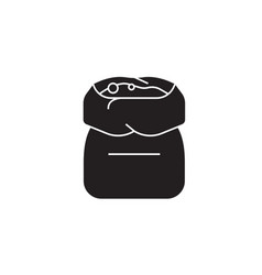 flour bag black concept icon flour bag vector image