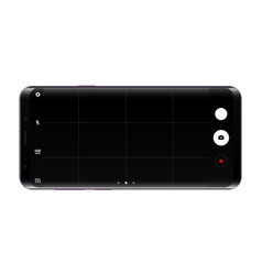 Frameless cellphone mock up with camera app screen vector