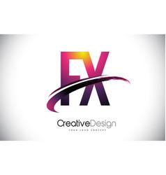 Fx f x purple letter logo with swoosh design vector