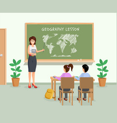 Geography lesson flat female vector