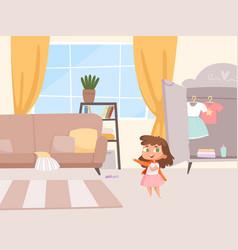 girl dressing little bain room interior vector image
