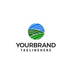 green landscape agriculture logo design concept vector image