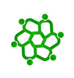 Green teamwork people logo symbol vector