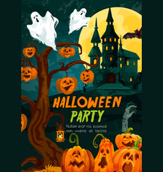 Halloween pumpkin and ghost house greeting banner vector