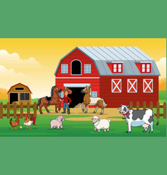 happy animals farm with the farmer in the farm vector image