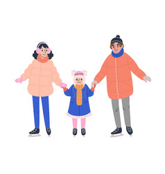 Happy family in winter clothes skating on ice rink vector