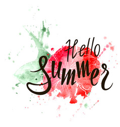 hello summer inscription on watercolor background vector image