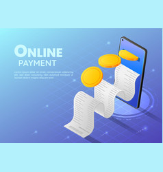 isometric web banner gold coin going into vector image