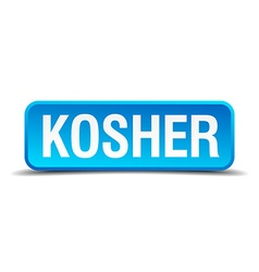 Kosher blue 3d realistic square isolated button vector