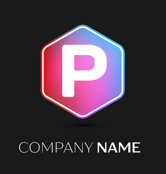 letter p logo symbol in colorful hexagonal vector image