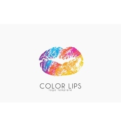 Lips logo design Woman lips Color lips vector image