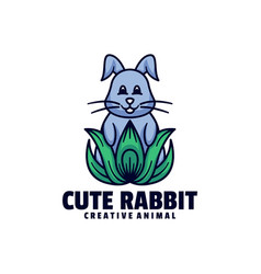 Logo cute rabbit mascot cartoon style vector