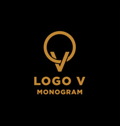 Luxury initial v logo design icon element isolated vector