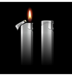Metal Lighters with Flame on Black Background vector image
