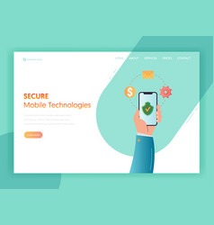 Mobile app technologies landing page template vector