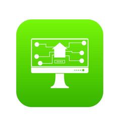 monitor chip icon digital green vector image