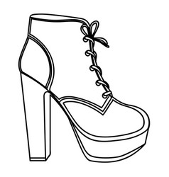 Monochrome silhouette of high heel shoe with vector