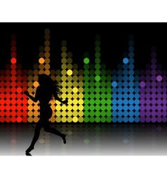 music equalizer and running girl vector image