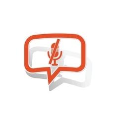 Muted microphone message sticker orange vector