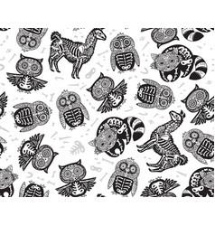 owl penguian llama and raccoon sugar skull in vector image