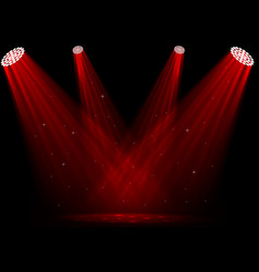 red spotlights on dark background vector image