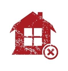 Remove house red grunge icon vector