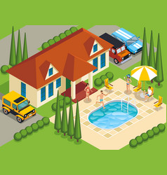 Rich people villa isometric vector