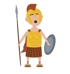 Roman warrior cartoon character screaming holding vector